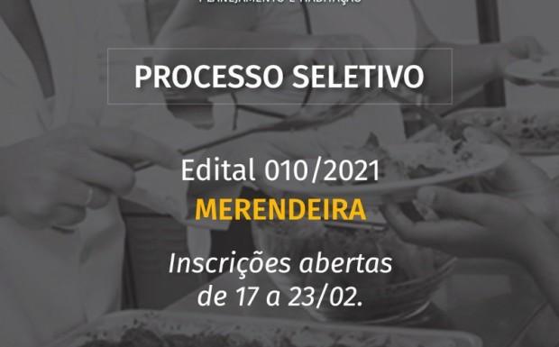 Foto de capa da notícia: ABERTO PROCESSO SELETIVO PARA MERENDEIRA