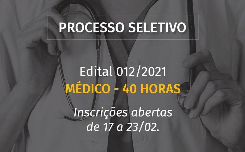 Foto de capa da notícia ABERTO PROCESSO SELETIVO PARA MÉDICO 40 HORAS