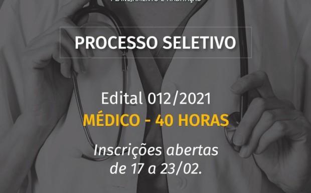 Foto de capa da notícia: ABERTO PROCESSO SELETIVO PARA MÉDICO 40 HORAS