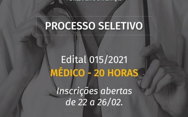 Foto de capa da notícia: ABERTO PROCESSO SELETIVO PARA MÉDICO 20 HORAS