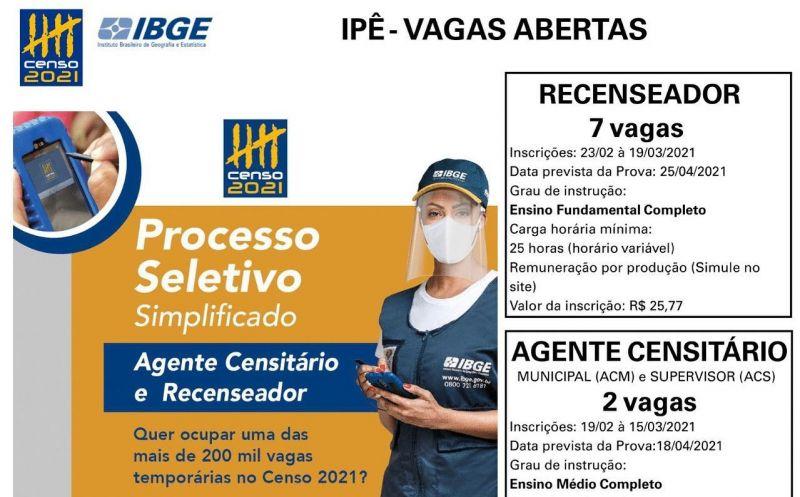 Foto de capa da notícia IBGE ABRE INSCRIÇÕES PARA PROCESSO SELETIVO DE AGENTES PARA IPÊ