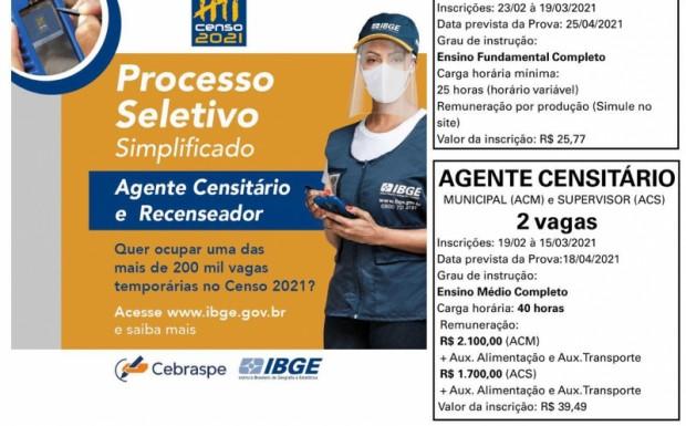 Foto de capa da notícia: IBGE ABRE INSCRIÇÕES PARA PROCESSO SELETIVO DE AGENTES PARA IPÊ
