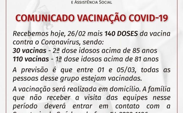 Foto de capa da notícia: COMUNICADO VACINAÇÃO COVID-1 -  IDOSOS acima de 81 anos