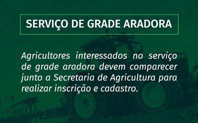 Foto de capa da notícia PREFEITURA DISPONIBILIZA SERVIÇO DE GRADE ARADORA