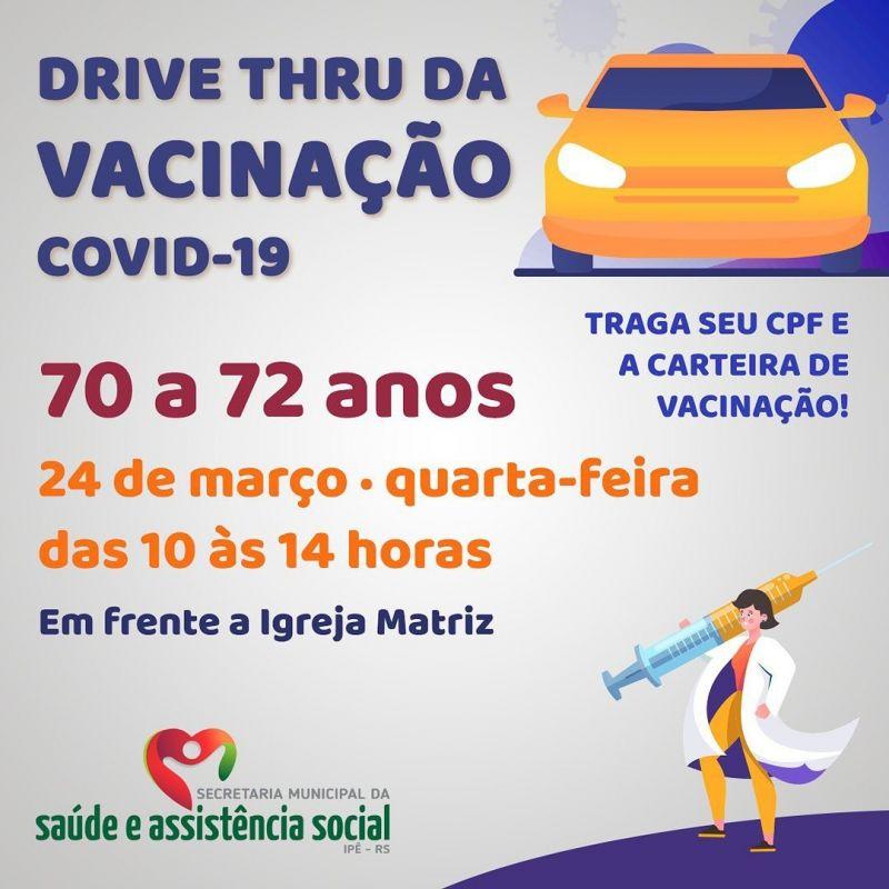 Foto de capa da notícia TERCEIRO DRIVE TRHU DE VACINAÇÃO É NESTA QUARTA, DIA 24!