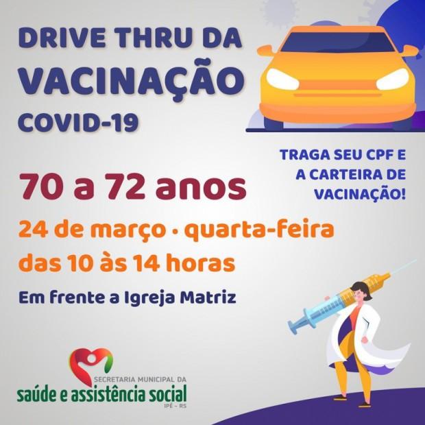 Foto de capa da notícia: TERCEIRO DRIVE TRHU DE VACINAÇÃO É NESTA QUARTA, DIA 24!