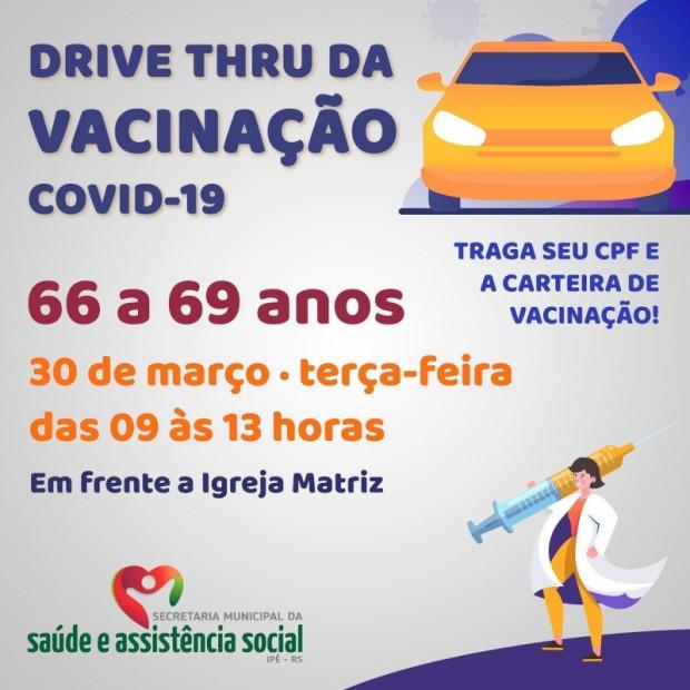 Foto de capa da notícia: 4° DRIVE TRHU DE VACINAÇÃO SERÁ REALIZADO AMANHÃ, DIA 30!