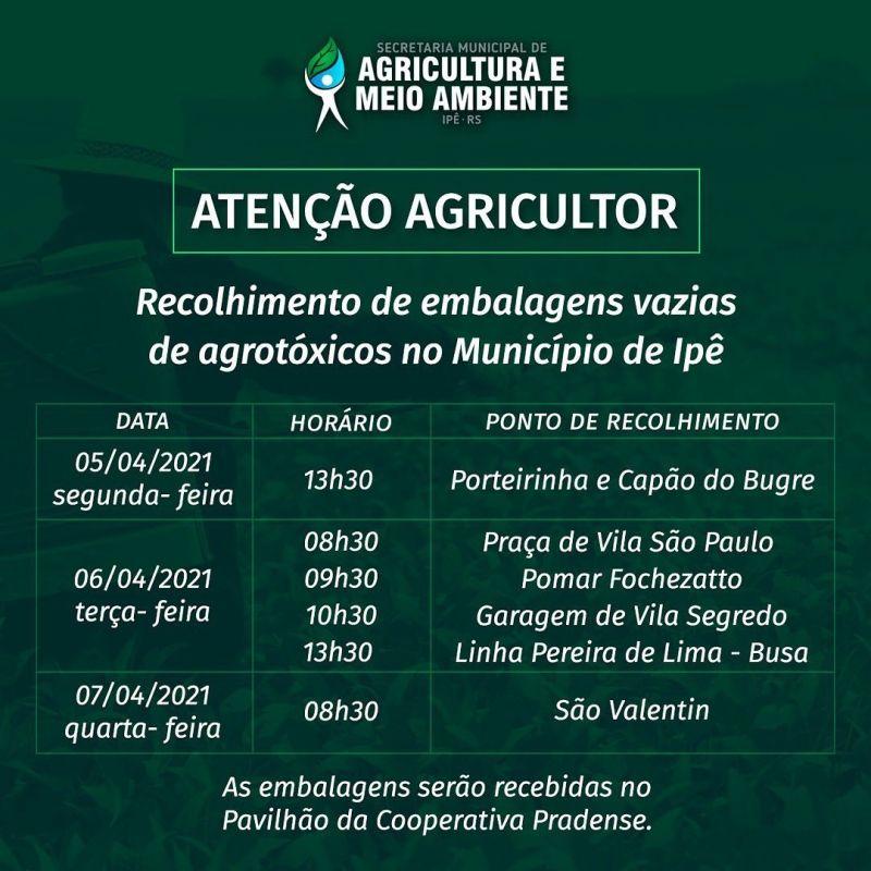 Foto de capa da notícia EMBALAGENS DE AGROTÓXICOS SERÃO RECOLHIDAS EM IPÊ