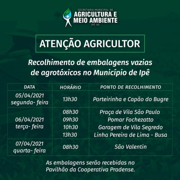 Foto de capa da notícia: EMBALAGENS DE AGROTÓXICOS SERÃO RECOLHIDAS EM IPÊ