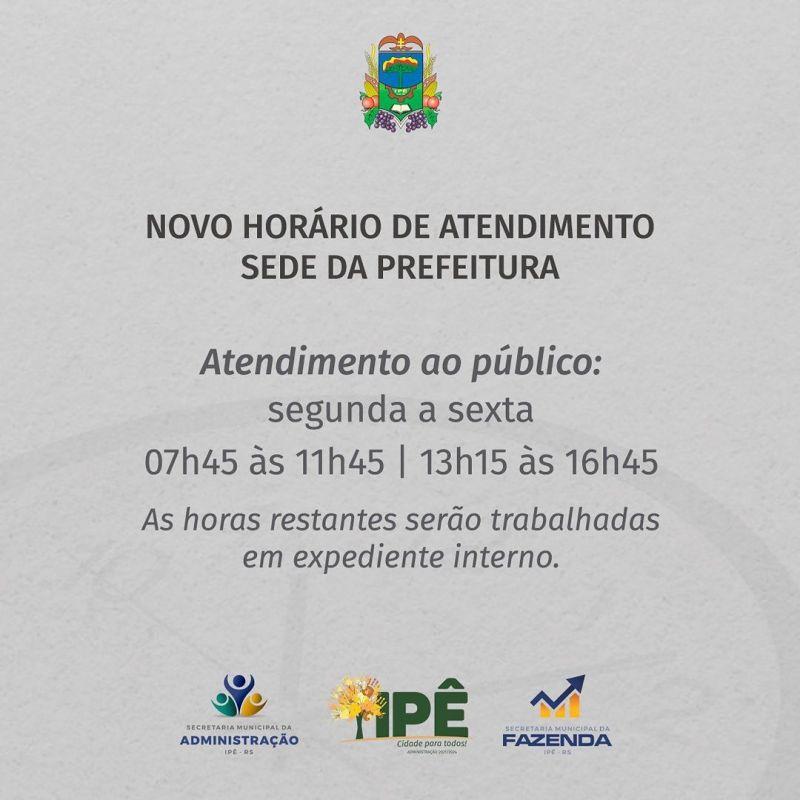 Foto de capa da notícia SEDE DA PREFEITURA PASSA A ATENDER EM NOVO HORÁRIO