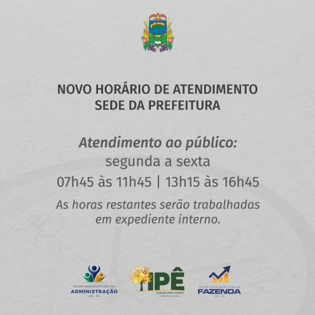 Foto de capa da notícia: SEDE DA PREFEITURA PASSA A ATENDER EM NOVO HORÁRIO
