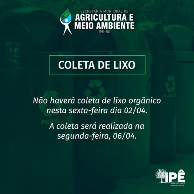 Foto de capa da notícia: RECOLHIMENTO DE LIXO MUDARÁ NO FERIADO
