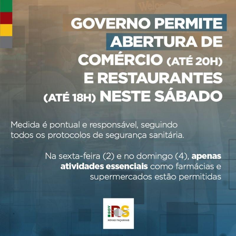 Foto de capa da notícia COMÉRCIO E RESTAURANTES PODERÃO ABRIR NESTE SÁBADO.