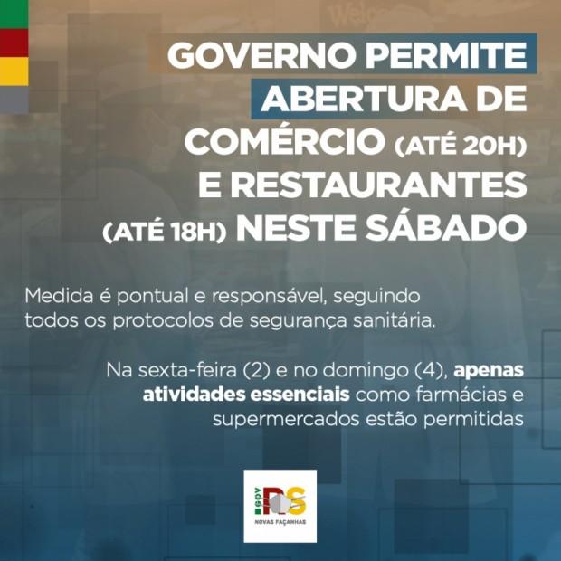 Foto de capa da notícia: COMÉRCIO E RESTAURANTES PODERÃO ABRIR NESTE SÁBADO.