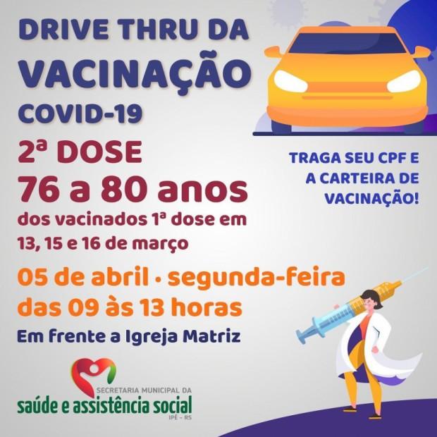 Foto de capa da notícia: DRIVE THRU VACINARÁ 2ª DOSE EM IDOSOS DE 76 à 80 ANOS NESTA SEGUNDA-FEIRA, 5/04.