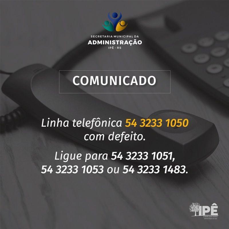 Foto de capa da notícia LINHA TELEFÔNICA EM MANUTENÇÃO