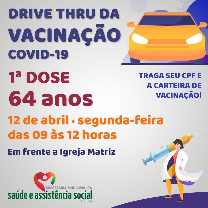 Foto de capa da notícia DRIVE THRU IRÁ VACINAR IDOSOS COM 64 ANOS NESTA SEGUNDA