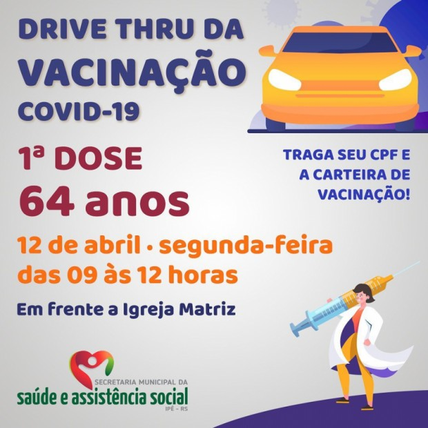 Foto de capa da notícia: DRIVE THRU IRÁ VACINAR IDOSOS COM 64 ANOS NESTA SEGUNDA