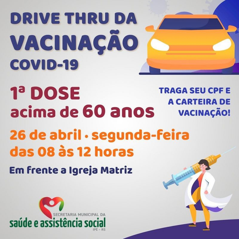 Foto de capa da notícia 9° DRIVE THRU IRÁ VACINAR IDOSOS ACIMA DE 60 ANOS NESTA SEGUNDA
