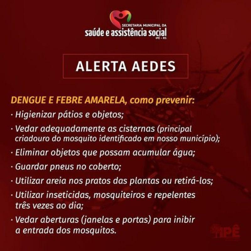 Foto de capa da notícia ALERTA À POPULAÇÃO IPEENSE SOBRE A DENGUE E FEBRE AMARELA