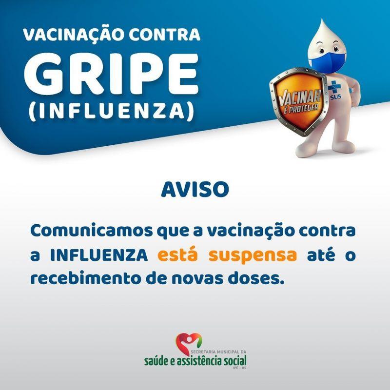 Foto de capa da notícia VACINAÇÃO DA GRIPE INFLUENZA ESTÁ SUSPENSA