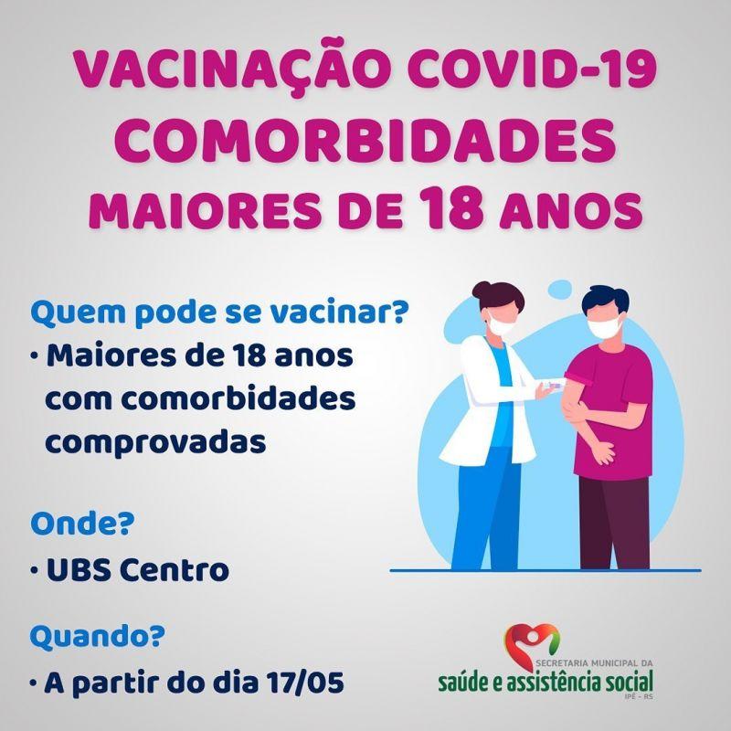 Foto de capa da notícia MAIORES DE 18 ANOS COM COMORBIDADES JÁ PODEM SE VACINAR A PARTIR DESSA SEGUNDA