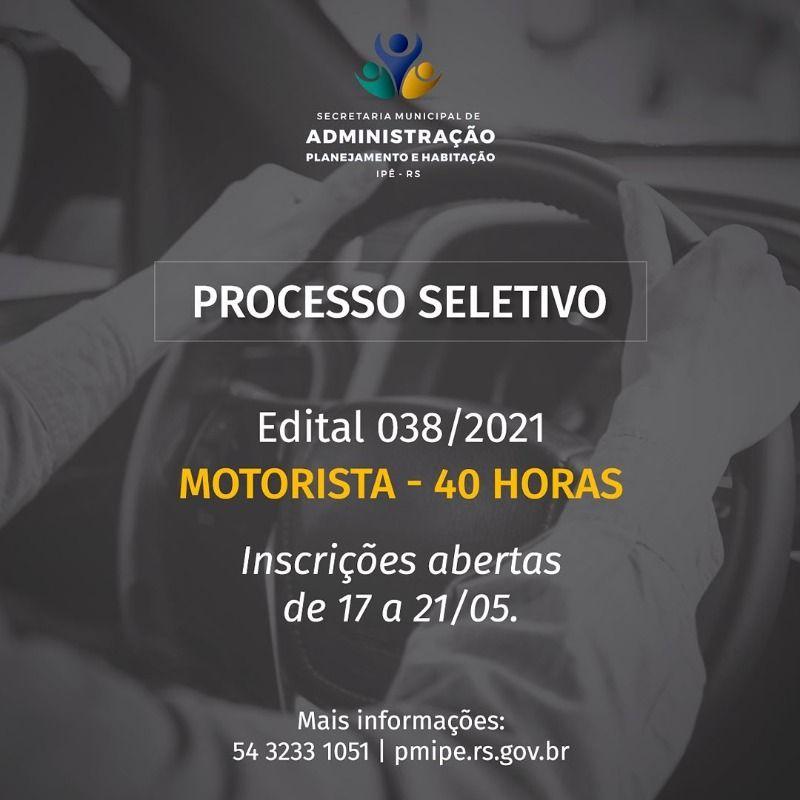 Foto de capa da notícia Aberto PROCESSO SELETIVO para contratação de 03 MOTORISTAS.
