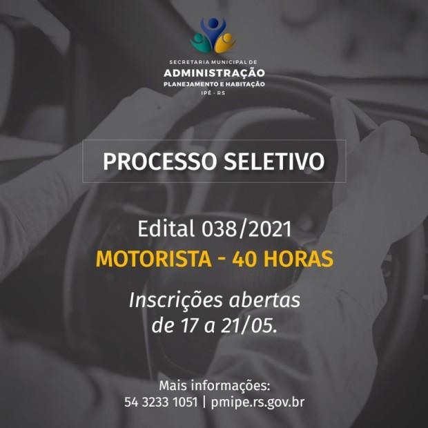 Foto de capa da notícia: Aberto PROCESSO SELETIVO para contratação de 03 MOTORISTAS.