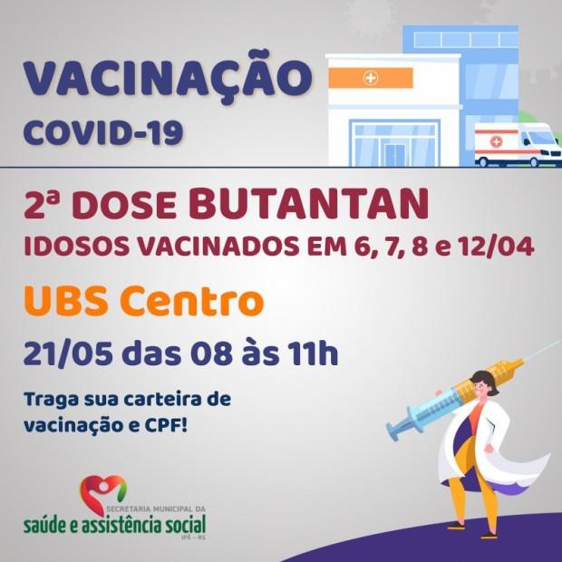Foto de capa da notícia: IDOSOS VACINADOS EM 6,7,8 e 12/04 RECEBEM 2ª DOSE NESTA SEXTA!