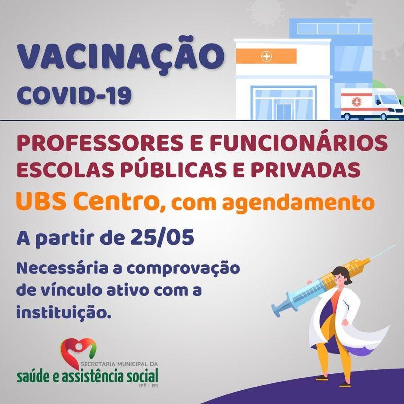 Foto de capa da notícia PREFEITURA INICIARÁ VACINAÇÃO CONTRA COVID-19 EM PROFESSORES E FUNCIONÁRIOS DA REDE DE ENSINO