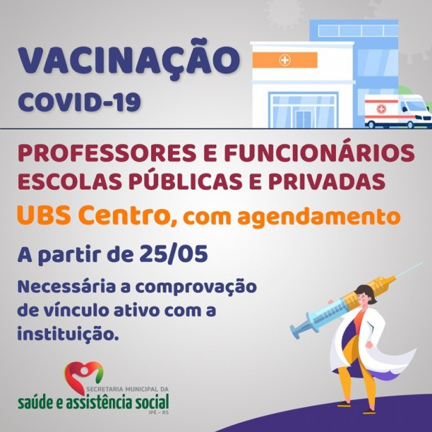 Foto de capa da notícia: PREFEITURA INICIARÁ VACINAÇÃO CONTRA COVID-19 EM PROFESSORES E FUNCIONÁRIOS DA REDE DE ENSINO
