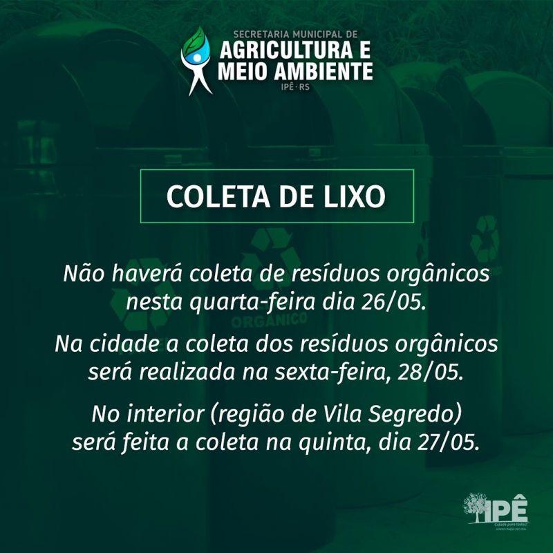 Foto de capa da notícia ATENÇÃO À COLETA DE RESÍDUOS NO FERIADO DO DIA 26 DE MAIO