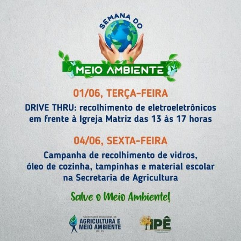 Foto de capa da notícia SEMANA DO MEIO AMBIENTE PROMOVE AÇÕES PARA RECOLHIMENTO DE RECICLÁVEIS