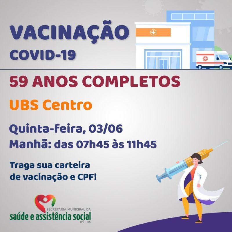 Foto de capa da notícia ADULTOS COM 59 ANOS COMPLETOS SERÃO VACINADOS NESTA QUINTA (03)