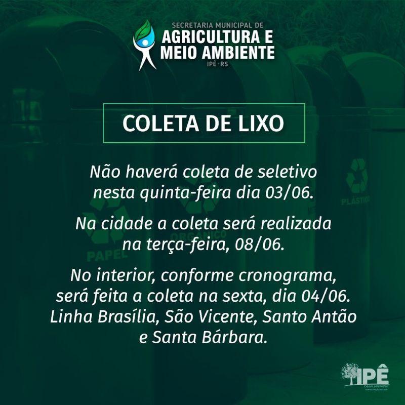 Foto de capa da notícia ATENÇÃO A COLETA DE LIXO NESTE FERIADO
