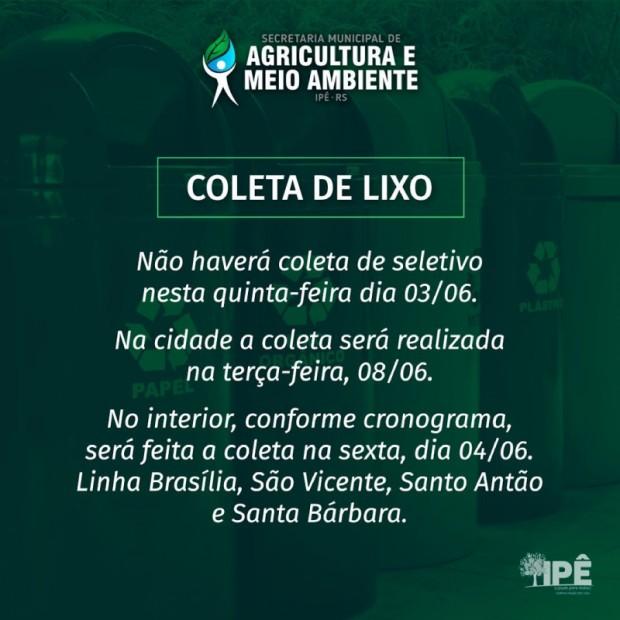 Foto de capa da notícia: ATENÇÃO A COLETA DE LIXO NESTE FERIADO