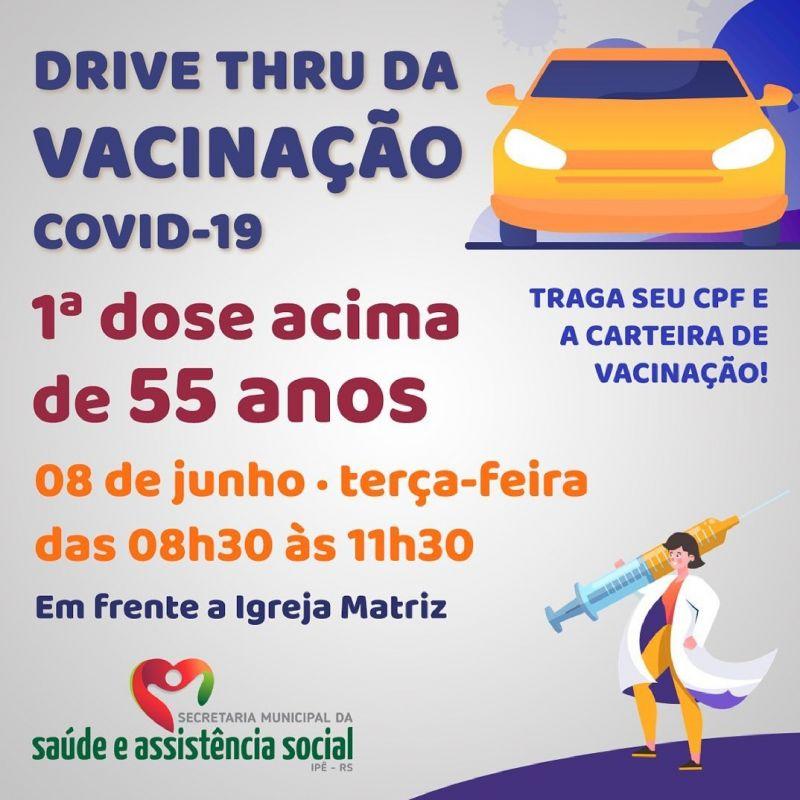 Foto de capa da notícia DRIVE THRU IRÁ VACINAR ADULTOS ACIMA DE 55 ANOS NESTA TERÇA