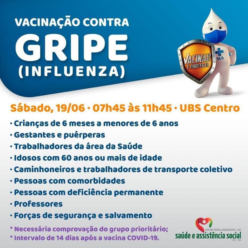 Foto de capa da notícia: UBS CENTRO FARÁ VACINAÇÃO DA GRIPE INFLUENZA NO SÁBADO