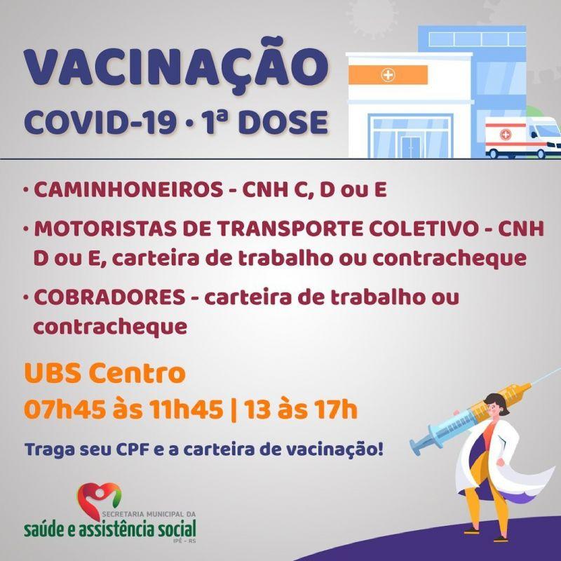 Foto de capa da notícia CAMINHONEIROS, MOTORISTAS DE COLETIVOS E COBRADORES RECEBEM VACINAÇÃO CONTRA COVID-19 A PARTIR DE AMANHÃ (22)