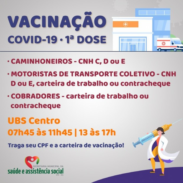 Foto de capa da notícia: CAMINHONEIROS, MOTORISTAS DE COLETIVOS E COBRADORES RECEBEM VACINAÇÃO CONTRA COVID-19 A PARTIR DE AMANHÃ (22)