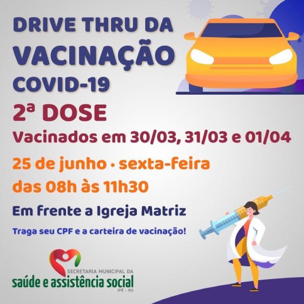 Foto de capa da notícia: DRIVE THRU PARA VACINADOS EM 30, 31/03 e 01/04