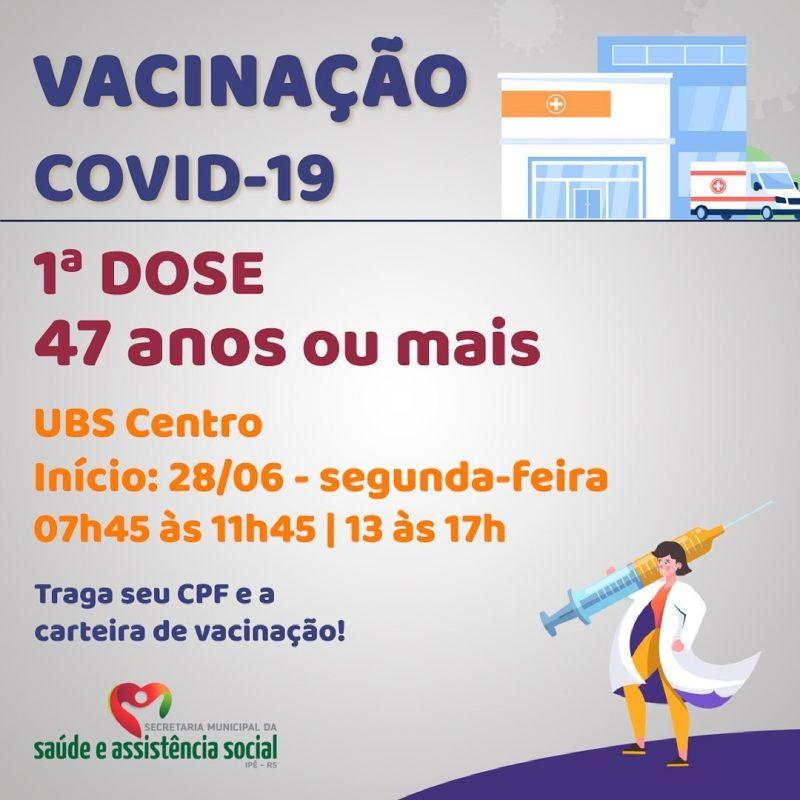 Foto de capa da notícia SEGUNDA-FEIRA INICIA COM VACINAÇÃO EM ADULTOS ACIMA DE 47 ANOS NA UBS CENTRO