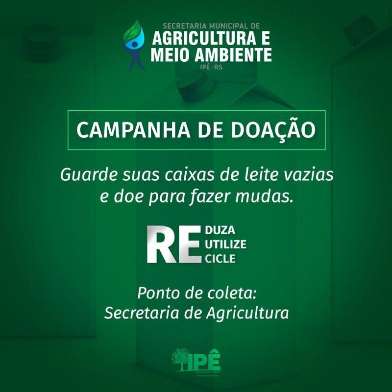 Foto de capa da notícia SECRETARIA DE AGRICULTURA E MEIO AMBIENTE LANÇA CAMPANHA PARA DOAÇÃO DE CAIXAS LONGA VIDA