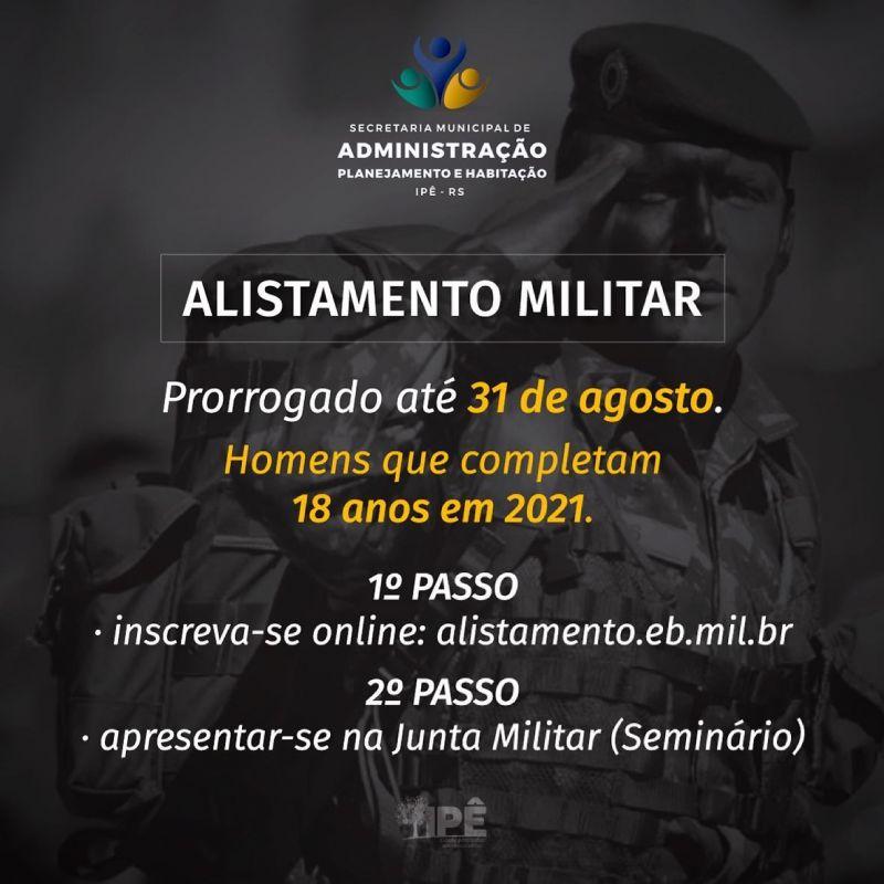 Foto de capa da notícia ALISTAMENTO MILITAR É PRORROGADO ATÉ 31 DE AGOSTO
