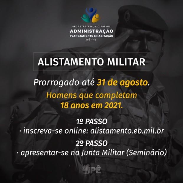 Foto de capa da notícia: ALISTAMENTO MILITAR É PRORROGADO ATÉ 31 DE AGOSTO