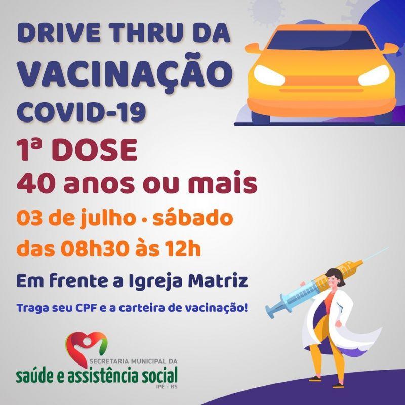 Foto de capa da notícia DRIVE THRU VACINOU ADULTOS ACIMA DE 40 ANOS NESTE SÁBADO