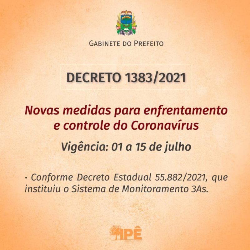 Foto de capa da notícia NOVO DECRETO COM MEDIDAS DE COMBATE AO COVID-19 TEM VIGÊNCIA DE 01 À 15 DE JULHO