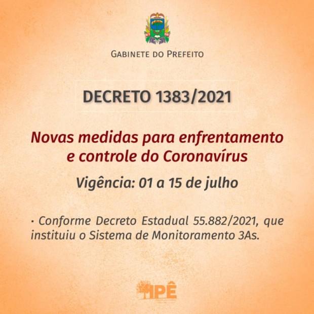 Foto de capa da notícia: NOVO DECRETO COM MEDIDAS DE COMBATE AO COVID-19 TEM VIGÊNCIA DE 01 À 15 DE JULHO