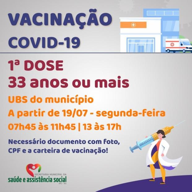 Foto de capa da notícia: SEGUNDA INICIA COM VACINAÇÃO EM ADULTOS ACIMA DE 33 ANO