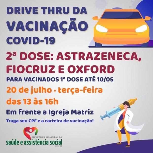 Foto de capa da notícia: DRIVE THRU PARA ANTECIPAÇÃO DA SEGUNDA DOSE